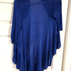 Fancy Ruffle Cobalt Blue Cardigan Sweater